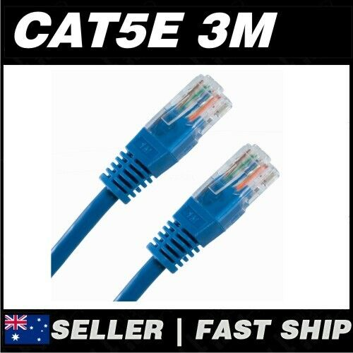 1x 3m Cat 5 5E Cat5 Cat5E Blue Premium Ethernet Network LAN Patch Cable Lead