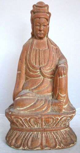 """Antique or Vintage ? Chinese Hand Carved Wood Lotus Seated Kwan-Yin  (11"""" tall)"""