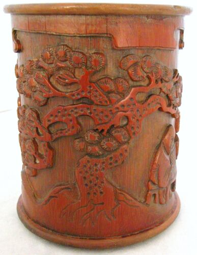 """Antique ? Chinese Carved Giant Bamboo Brush Pot w/ Scholars & Pine Trees (6.45"""")"""