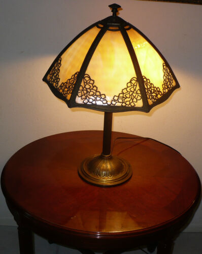 ANTIQUE 1800's BRADLEY & HUBBARD SLAG GLASS LAMP GORGEOUS!