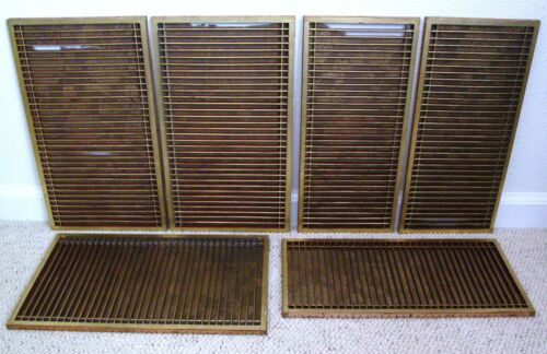 """6 Antique Chinese Gold Painted Slatted Wood Panels with Floral Fabric  (16.55"""")"""