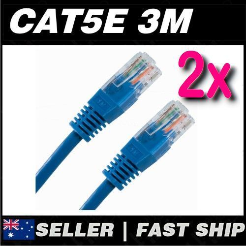 2x 3m Blue Cat5 Cat5E 100Mbps  RJ45 Ethernet Network LAN Patch Cable