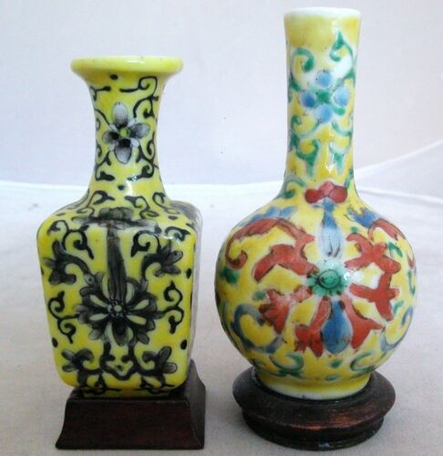 2 Antique Chinese Yellow Porcelain Snuff Bottles or Miniature Vases w/ Stands