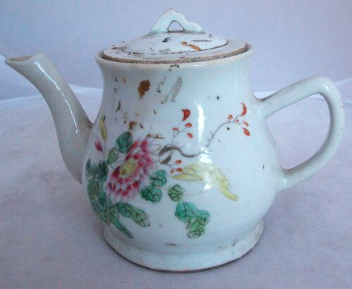 "Antique Chinese Famille Rose Hand Painted Teapot with Flowers & Writing  (6.75"")"