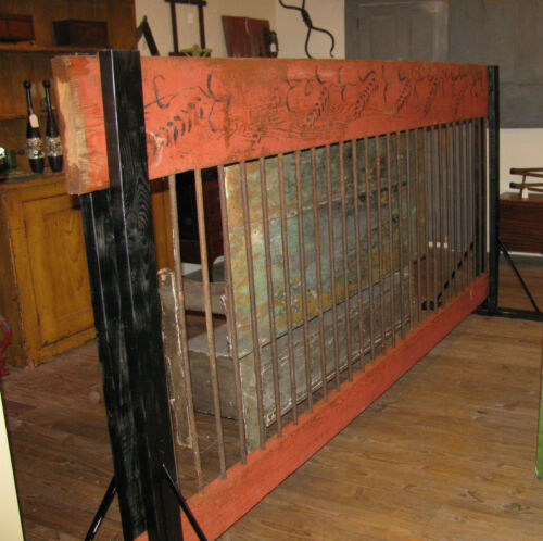 Antique Folk Country Painted Horse Stable Wall Divider Equestrian Barn