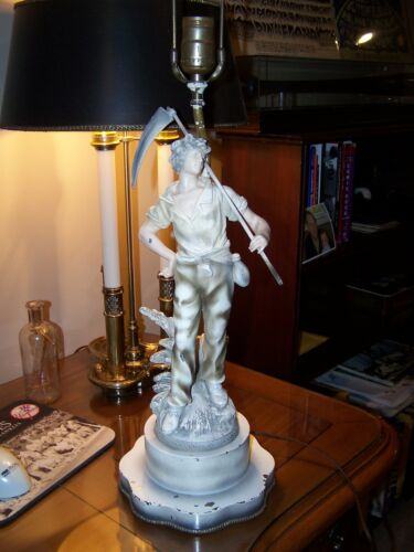 Auguste Moreau Antique Lamp Man with Sickle and Wheat Made in France