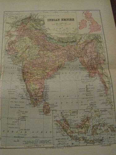 Nice Antique Map of The Indian Empire c. 1895 Johnston