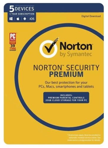 Norton Security Premium for Win, Mac & Android - 5 Devices 1 Year (eLicense)