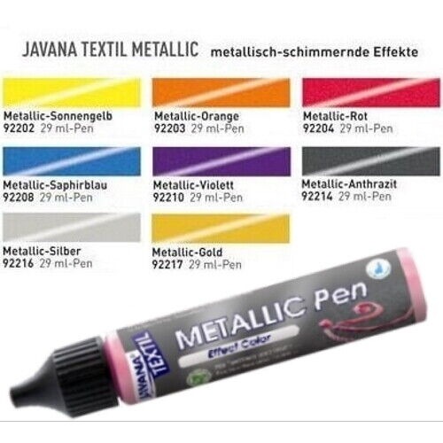 Kreul Stoffmalfarbe Textilfarbe (10,31€/100ml) Metallic Pen 29ml 9 Farben