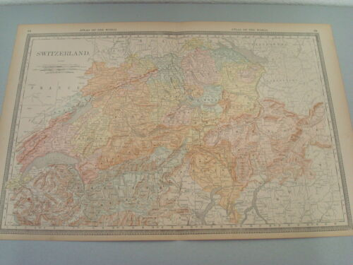 RARE 1888 ANTIQUE MAP OF SWITZERLAND