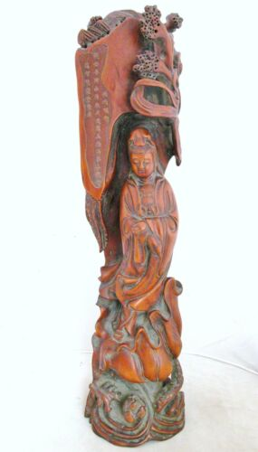 """Fine Chinese Carved Boxwood KWAN-YIN on Lotus w/ Poem or Scripture  (20"""" tall)"""