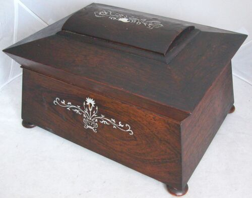 "12"" Antique Victorian Locking Wood Sewing Box with Mother of Pearl Inlay & Key"