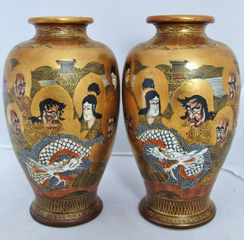 "7.4"" Pair of Signed Antique Meiji Japanese Satsuma Vases with DRAGONS & ARHATS"