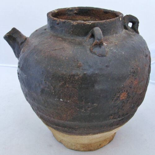 """7"""" Song Dynasty? Antique Chinese Temmoku Brown Glazed Earthenware Ewer or Vessel"""