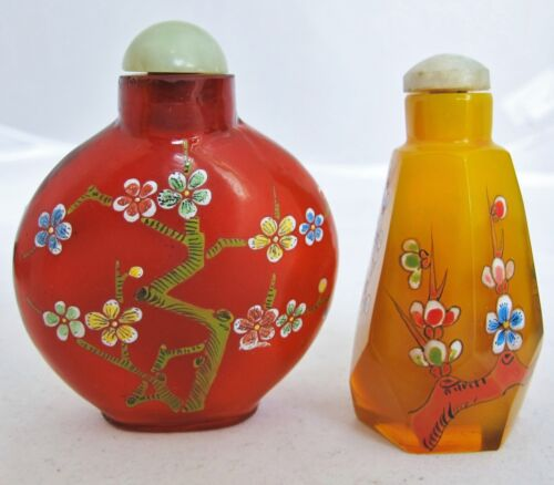2 Chinese Glass Snuff Bottles with Enameled Flowering Prunus Branches & Jade Top