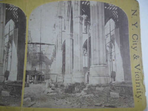 RARE 1860s ST. PATRICK'S CATHEDRAL UNDER CONSTRUCTION, NEW YORK CITY, STEREOVIEW