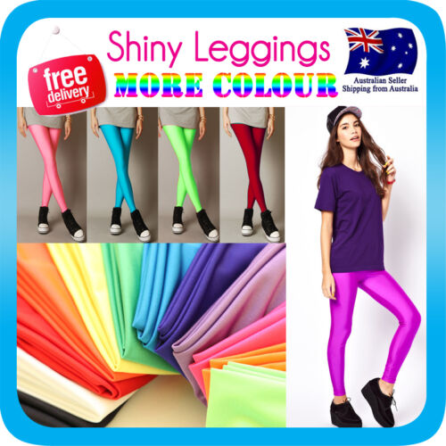 SHINY NEON LEGGINGS METALLIC STRETCH PANTS for dress costume party
