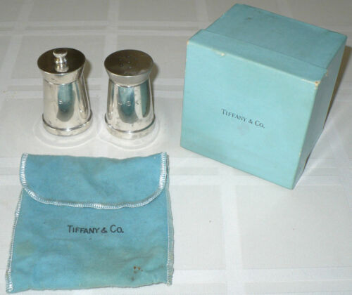 OLD TIFFANY & COMPANY STERLING SILVER SALT & PEPPER SHAKERS MADE IN ITALY
