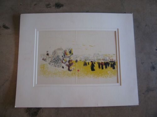 Unsigned Lithograph Print In the Manner of Pierre Bonnard Figures in Landscape
