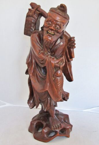 "Antique Chinese Carved Wood Immortal or Fisherman with Fish & Basket  (13.6"")"