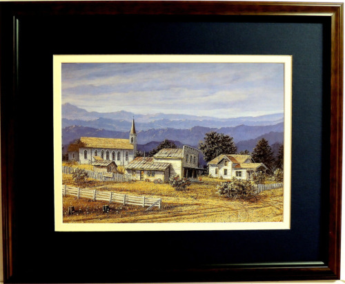 OLD COUNTRY CHURCH PICTURE OLD STORE OLD HOUSE  FRAMED DOUBLER MATTED 16X20