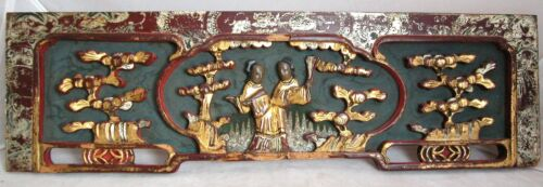 """Antique Chinese Carved Gold Gilt, Red & Black Wood Panel w/ Scholars  (17.7"""")"""