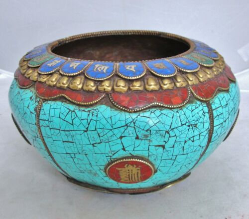 "7.6"" Antique Tibet / Tibetan Copper, Turquoise, Carnelian & Enamel Vase or Bowl"