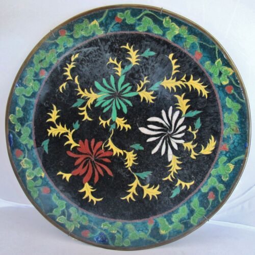 """12.1"""" Antique 19th Century Chinese or Japanese Black Cloisonne Plate w/ Flowers"""