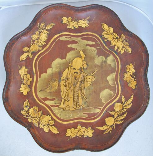 "14.5"" Antique Chinese Wood Bowl with Gold Painted Immortal SAU, Peaches & Deer"