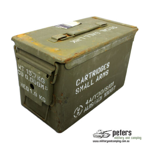 AMMO BOX 50 CAL EX ARMY STEEL AMMUNITION BOX FULLY SEALED GRADE AOther Hunting - 383