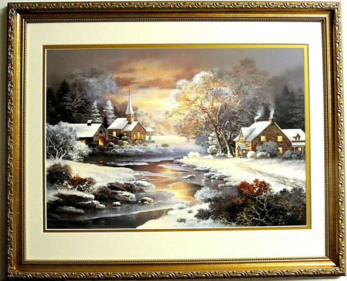 COUNTRY COTTAGE HOUSE PICTURE COUNTRY CHURCH SNOW SCENE FRAMED MATTED 16X20