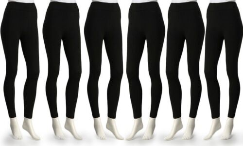 6-Pack Super Comfort Ladies Opaque Fleece-Lined Leggings