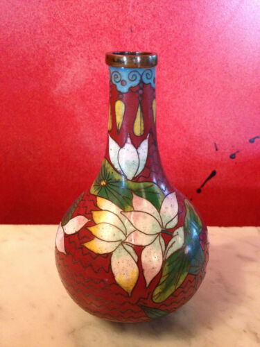 Antique Chinese or Japanese Closionne Vase w/ Floral Decoration