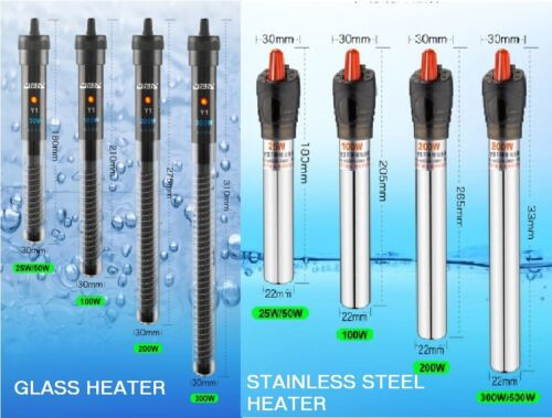 Submersible Fish Tank Aquarium Heater Thermostat Thermometer 25W upto 500W <br/> GLASS HEATERS AND STAINLESS STEEL HEATERS - 6 SIZES