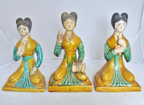 "3 Chinese Clay Pottery Lady Musician Statues w/ Yellow Sancai Glazes  (8.3"")"