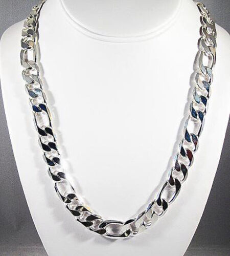 MENS 12MM STERLING SILVER FINISH PREMIUM QUALITY FIGARO LINK CHAIN NECKLACE