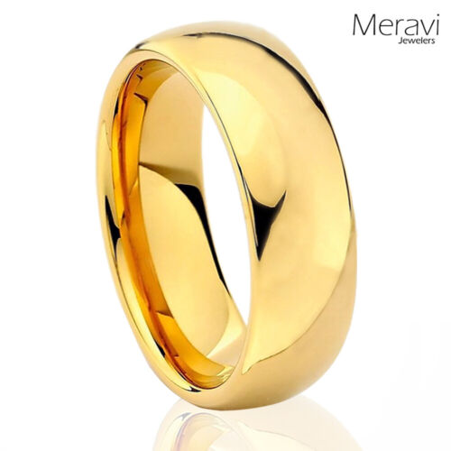 Tungsten Carbide 18k Gold Dome Wedding Band Comfort Fit Mens Womens Promise Ring