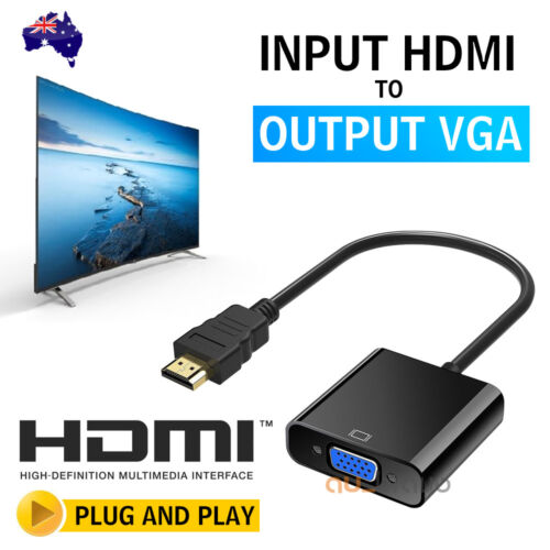 1080P HDMI Male to VGA Female Video Adapter Cable Converter Chipset Built-in AU