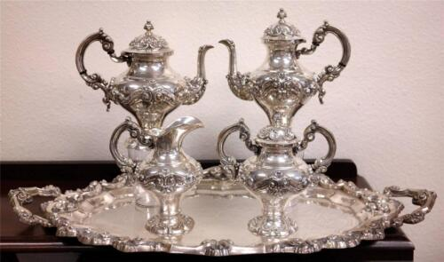 Antique PORTUGUESE Sterling 833 SILVER Five-Piece TEA/Coffee Set & Tray
