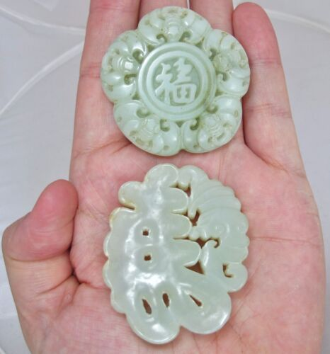 """2 Big Chinese Carved Celadon Green JADE Pendants with Bats  (2.35"""" & 2.10"""")"""