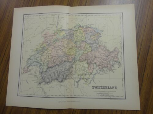 Nice color map of Switzerland.  Printed 1888 by Chambers.