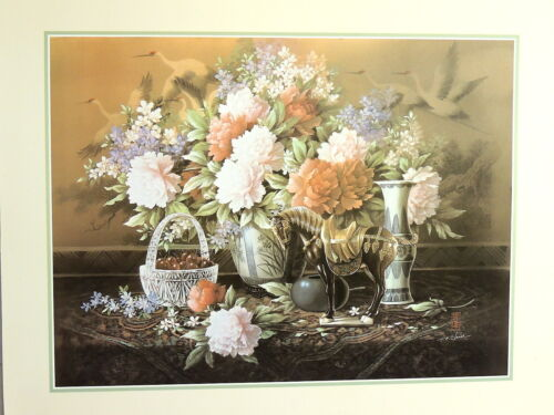CARNATION FLOWER PICTURE VASE BRASS  HORSE STILL LIFE FLORAL PRINT ONLY 16X20