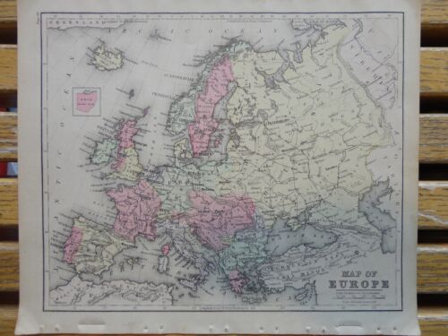 Nice colored map of Europe.  Warren's 1884 pub. by Cowperthwait & Co.