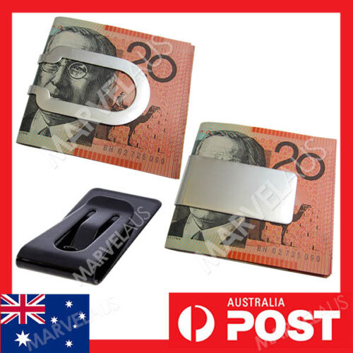 MONEY CLIP Solid Stainless Steel Polished Holder Clamp Mens Wallet Moneyclip