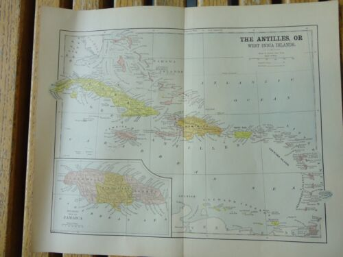 Nice colored map of The Antilles.  Pub. in 1895 in The People's Cyclopedia.
