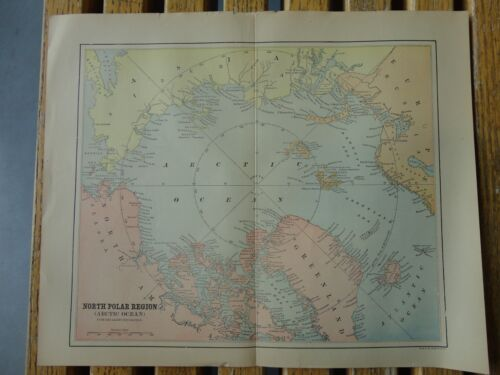 Nice colored map of North Polar Region.  Pub/1895 in The People's Cyclopedia.