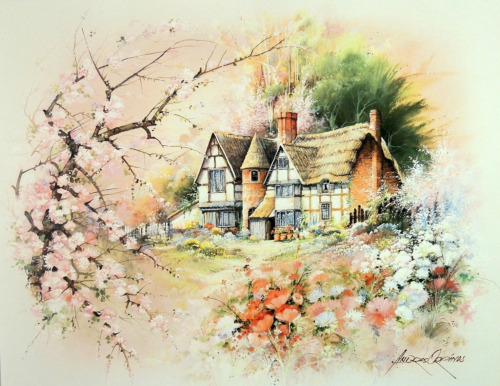 COUNTRY COTTAGE HOUSE PICTURE FLOWERS ART PRINT 16X20
