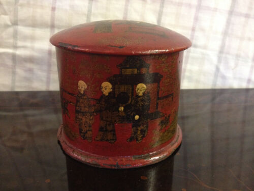 Antique Japanese Likely Meiji Period Red Lacquered Box w/ Figural Decoration