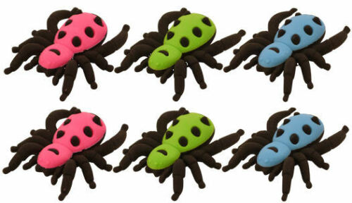 6 Spider 3D Erasers - Pinata Toy Loot/Party Bag Fillers Rubbers Kids