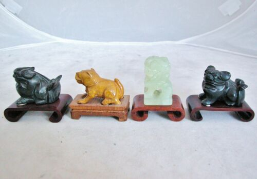4 Antique or Vintage Small Chinese Hand Carved Stone Foo Dogs on Wood Stands